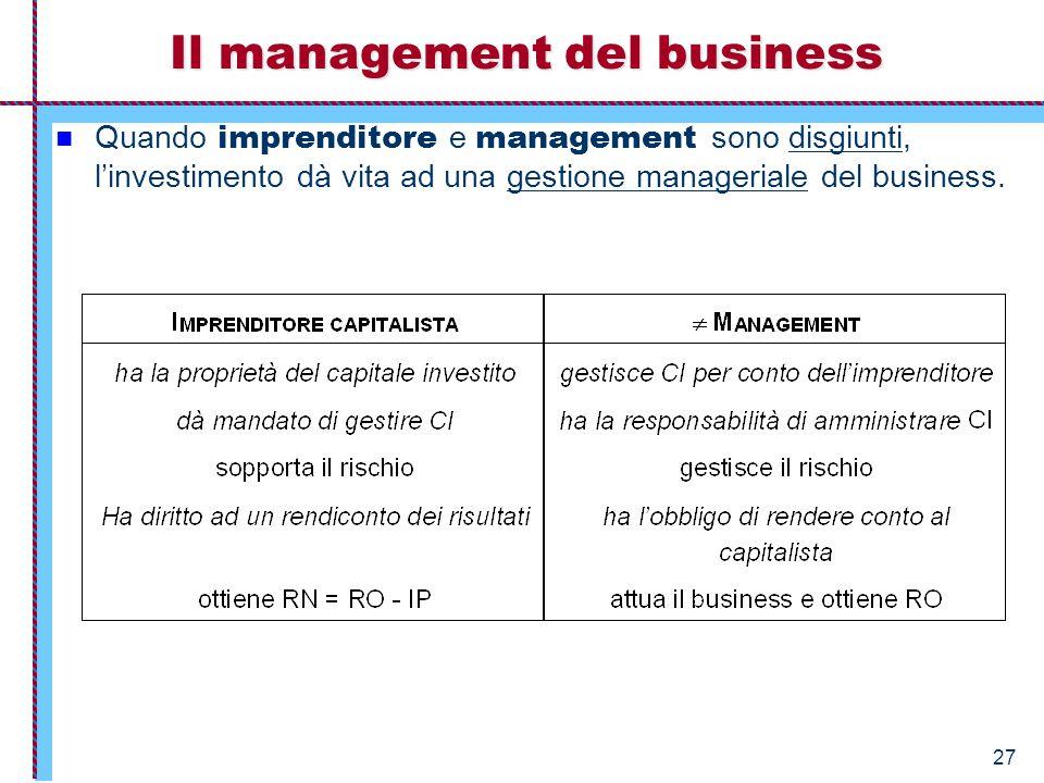 27 Quando imprenditore e management sono disgiunti, l'investimento dà vita ad una gestione manageriale del business. Il management del business