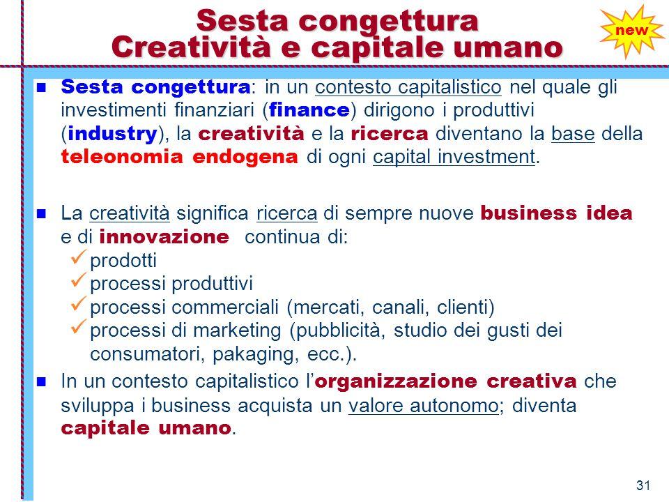 31 Sesta congettura Creatività e capitale umano Sesta congettura : in un contesto capitalistico nel quale gli investimenti finanziari ( finance ) diri