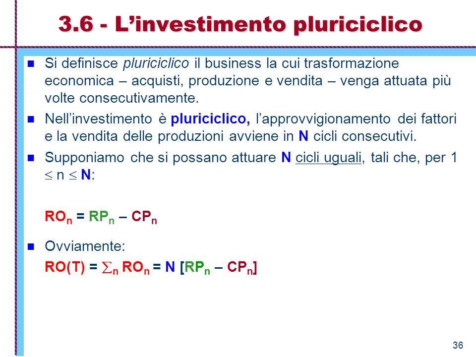 37 Il capitale investito necessario per l'intero investimento risulta essere pari all'ammontare dei costi da sostenere in uno dei cicli: CI(t 0 )  CP n Risulta allora immediatamente che: CIR = N CP(t) / CI(t 0 ) = N [31] Il CIR(Cost Investment Ratio) rappresenta non solo il numero di cicli ma anche la rotazione del capitale nell'intero investimento.