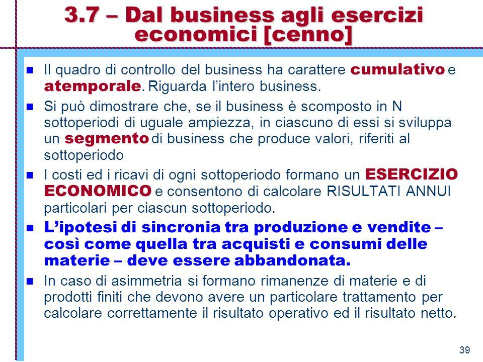 39 3.7 – Dal business agli esercizi economici [cenno] Il quadro di controllo del business ha carattere cumulativo e atemporale. Riguarda l'intero busi