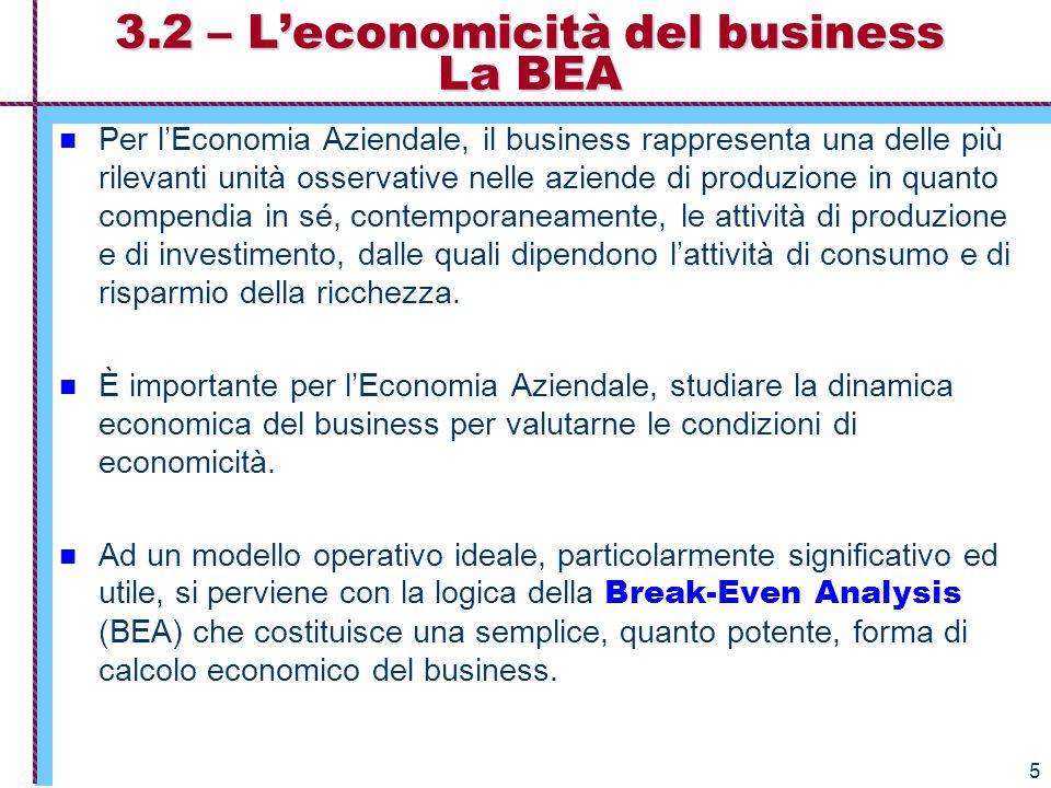 6 La logica delle BEA Una particolarità della BEA è che tratta i costi, i ricavi non in funzione agli anni di vita del business ma in funzione dei volumi crescenti di produzione del processo produttivo, determinando il risultato operativo per ciascun volume di produzione.