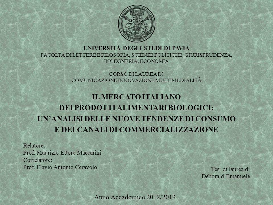 UNIVERSITÀ DEGLI STUDI DI PAVIA FACOLTÀ DI LETTERE E FILOSOFIA, SCIENZE POLITICHE, GIURISPRUDENZA, INGEGNERIA, ECONOMIA CORSO DI LAUREA IN COMUNICAZIONE INNOVAZIONE MULTIMEDIALITÀ IL MERCATO ITALIANO DEI PRODOTTI ALIMENTARI BIOLOGICI: UN'ANALISI DELLE NUOVE TENDENZE DI CONSUMO E DEI CANALI DI COMMERCIALIZZAZIONE Relatore: Prof.