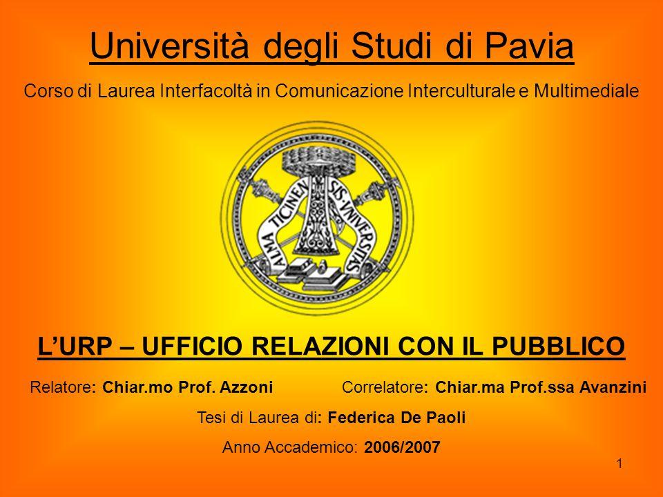 1 Università degli Studi di Pavia Corso di Laurea Interfacoltà in Comunicazione Interculturale e Multimediale Relatore: Chiar.mo Prof. Azzoni Correlat