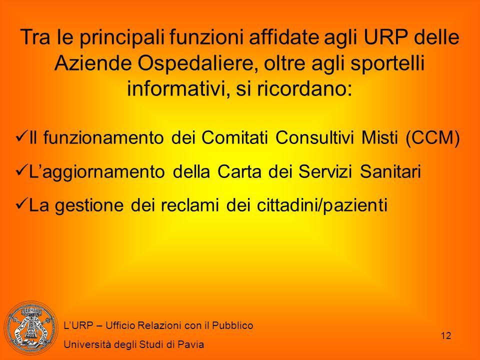 12 L'URP – Ufficio Relazioni con il Pubblico Università degli Studi di Pavia Tra le principali funzioni affidate agli URP delle Aziende Ospedaliere, o
