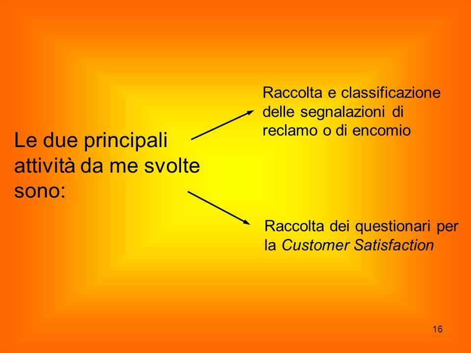 16 Le due principali attività da me svolte sono: Raccolta e classificazione delle segnalazioni di reclamo o di encomio Raccolta dei questionari per la