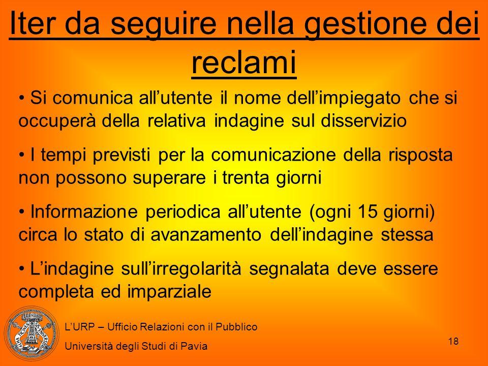 18 L'URP – Ufficio Relazioni con il Pubblico Università degli Studi di Pavia Iter da seguire nella gestione dei reclami Si comunica all'utente il nome