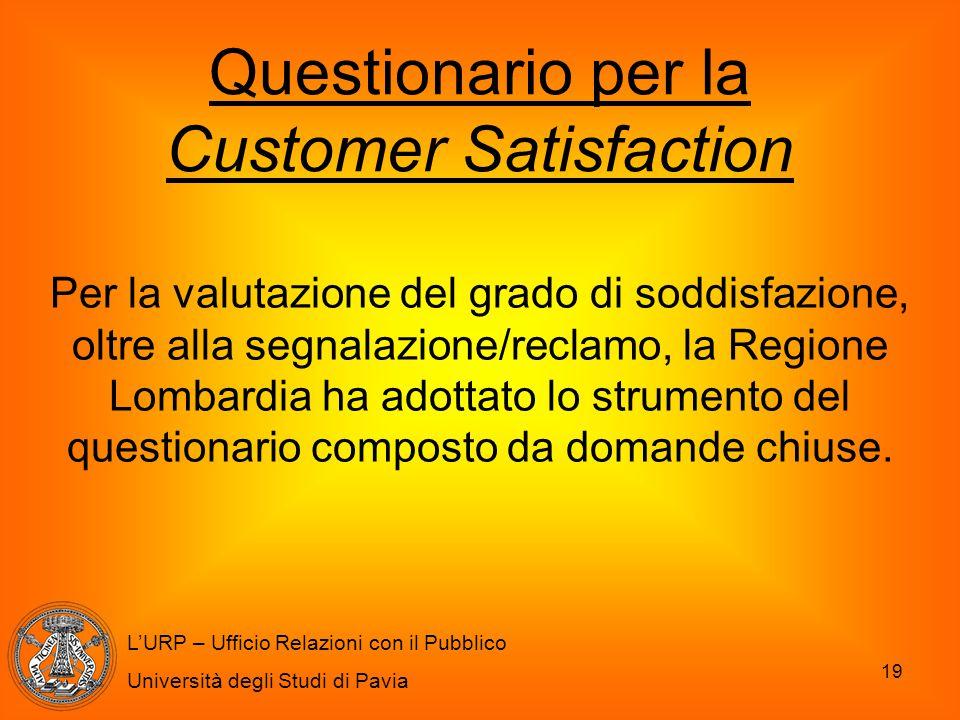 19 L'URP – Ufficio Relazioni con il Pubblico Università degli Studi di Pavia Questionario per la Customer Satisfaction Per la valutazione del grado di