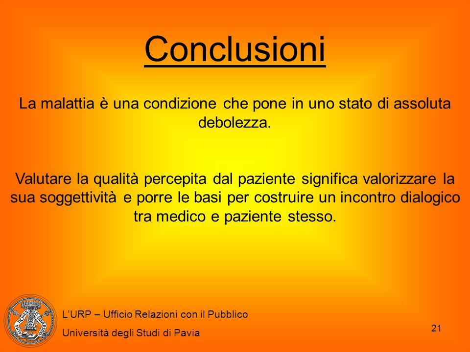 21 L'URP – Ufficio Relazioni con il Pubblico Università degli Studi di Pavia Conclusioni La malattia è una condizione che pone in uno stato di assolut