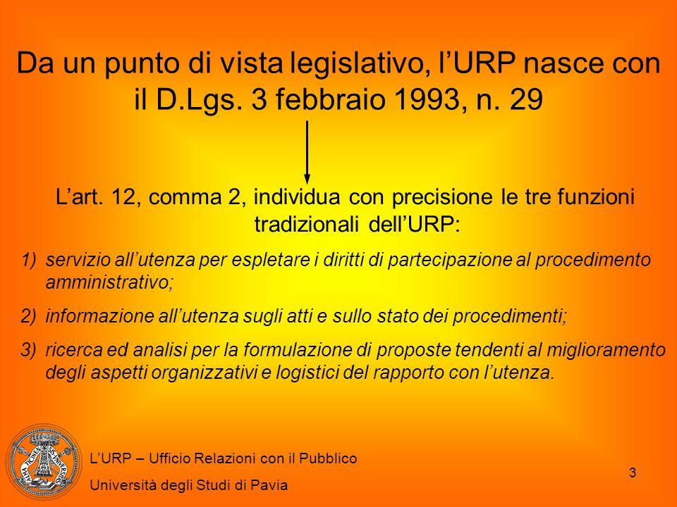 3 Da un punto di vista legislativo, l'URP nasce con il D.Lgs. 3 febbraio 1993, n. 29 L'URP – Ufficio Relazioni con il Pubblico Università degli Studi