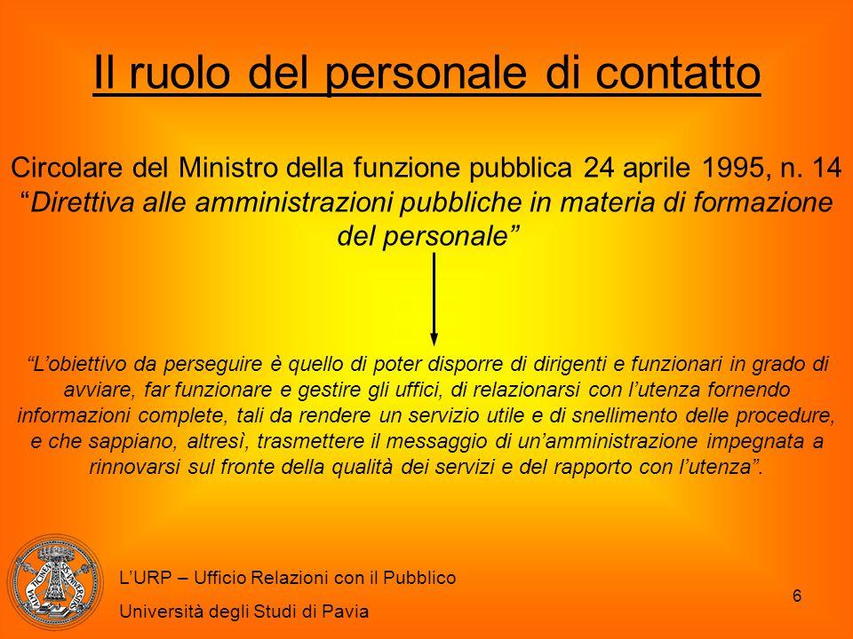 6 L'URP – Ufficio Relazioni con il Pubblico Università degli Studi di Pavia Il ruolo del personale di contatto Circolare del Ministro della funzione p