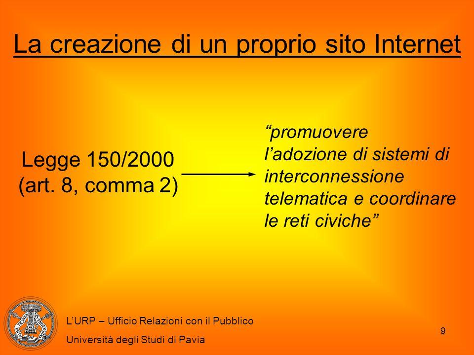 9 L'URP – Ufficio Relazioni con il Pubblico Università degli Studi di Pavia La creazione di un proprio sito Internet Legge 150/2000 (art. 8, comma 2)