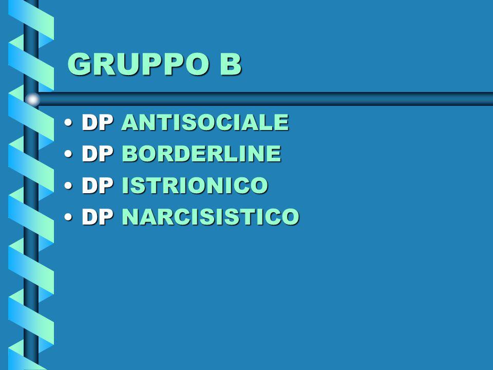 GRUPPO B DPDP ANTISOCIALE BORDERLINE ISTRIONICO NARCISISTICO
