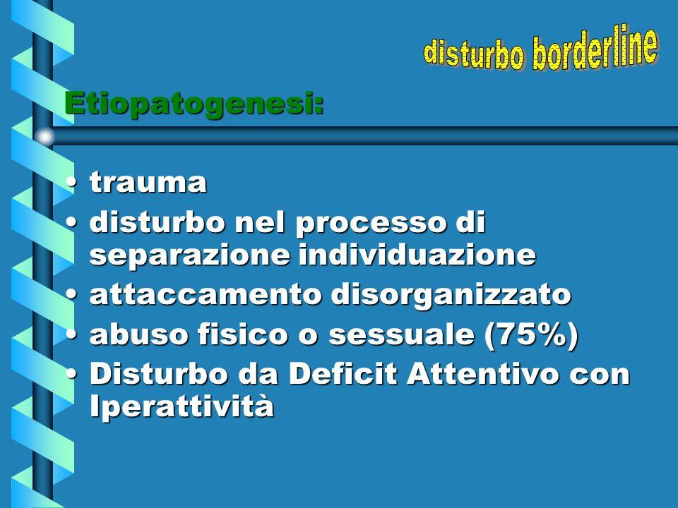 Etiopatogenesi: traumatrauma disturbo nel processo di separazione individuazionedisturbo nel processo di separazione individuazione attaccamento disor