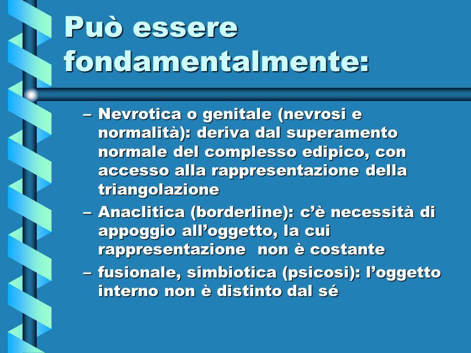 Può essere fondamentalmente: –Nevrotica o genitale (nevrosi e normalità): deriva dal superamento normale del complesso edipico, con accesso alla rappr