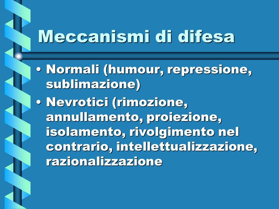 Meccanismi di difesa Normali (humour, repressione, sublimazione)Normali (humour, repressione, sublimazione) Nevrotici (rimozione, annullamento, proiez