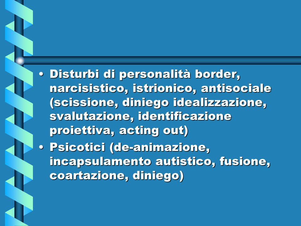 Disturbi di personalità border, narcisistico, istrionico, antisociale (scissione, diniego idealizzazione, svalutazione, identificazione proiettiva, ac