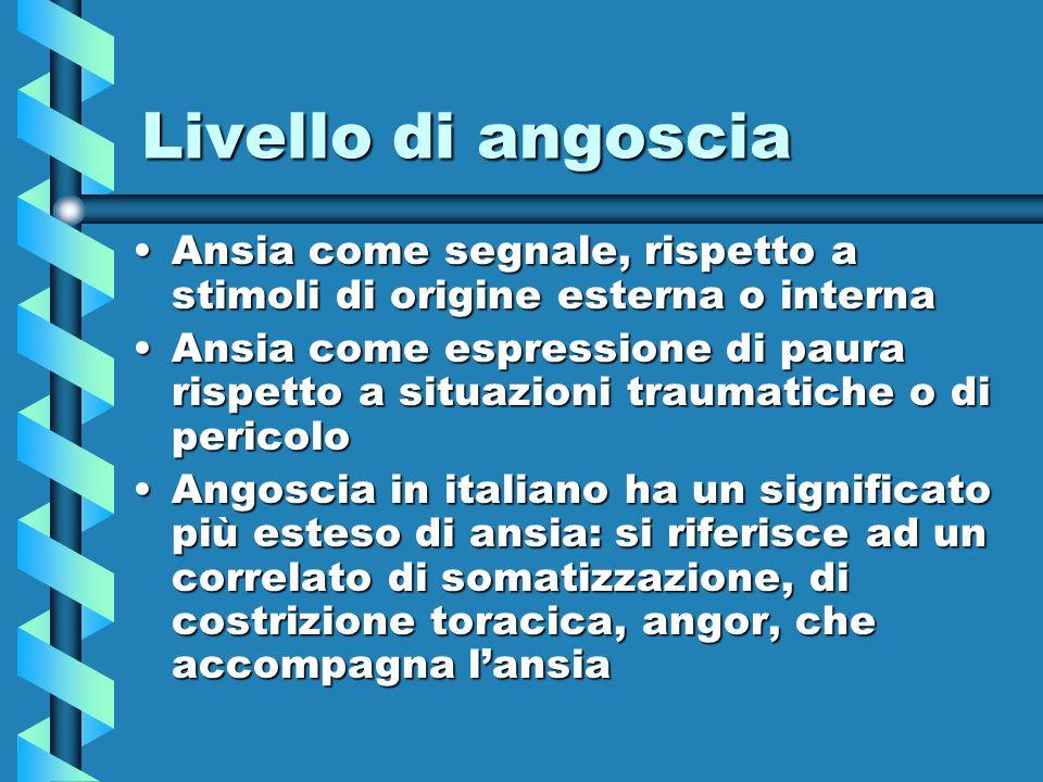 Livello di angoscia Ansia come segnale, rispetto a stimoli di origine esterna o internaAnsia come segnale, rispetto a stimoli di origine esterna o int