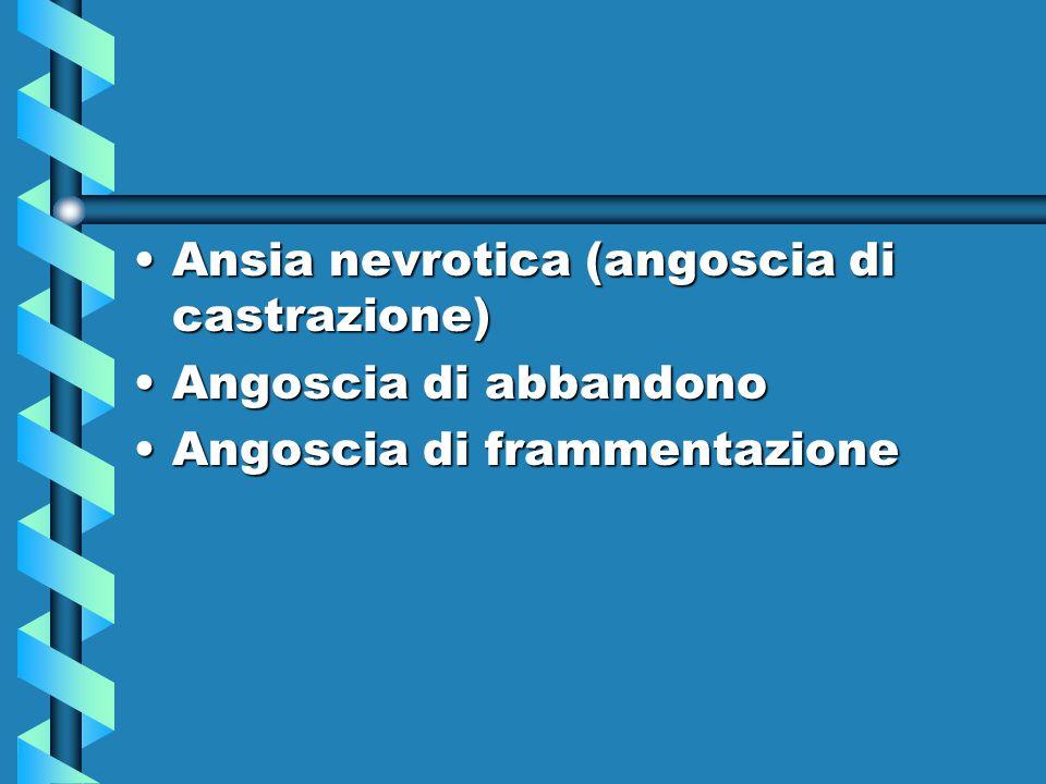 Ansia nevrotica (angoscia di castrazione)Ansia nevrotica (angoscia di castrazione) Angoscia di abbandonoAngoscia di abbandono Angoscia di frammentazio