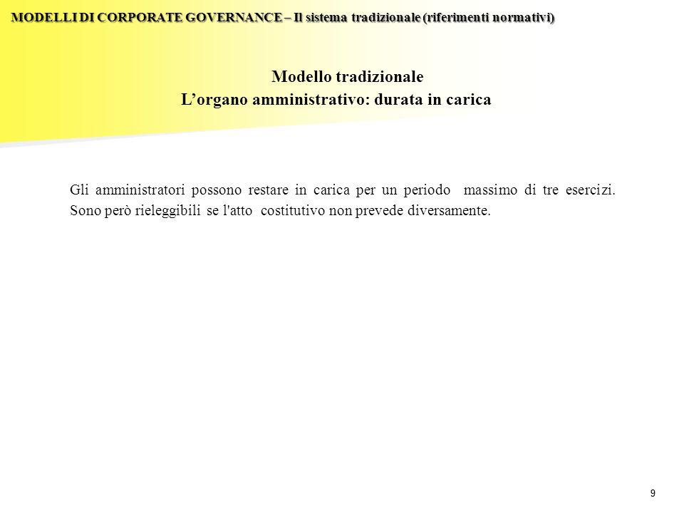 20  Al consiglio si applicano, in quanto compatibili, le disposizioni previste per gli amministratori nel sistema tradizionale.