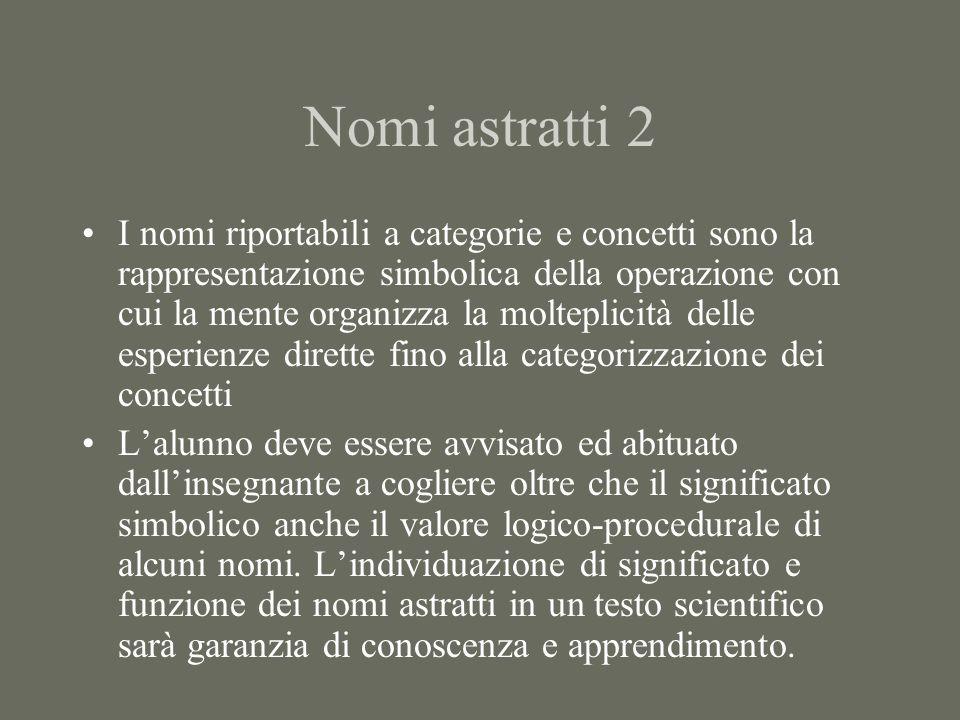 Nomi astratti 2 I nomi riportabili a categorie e concetti sono la rappresentazione simbolica della operazione con cui la mente organizza la molteplici