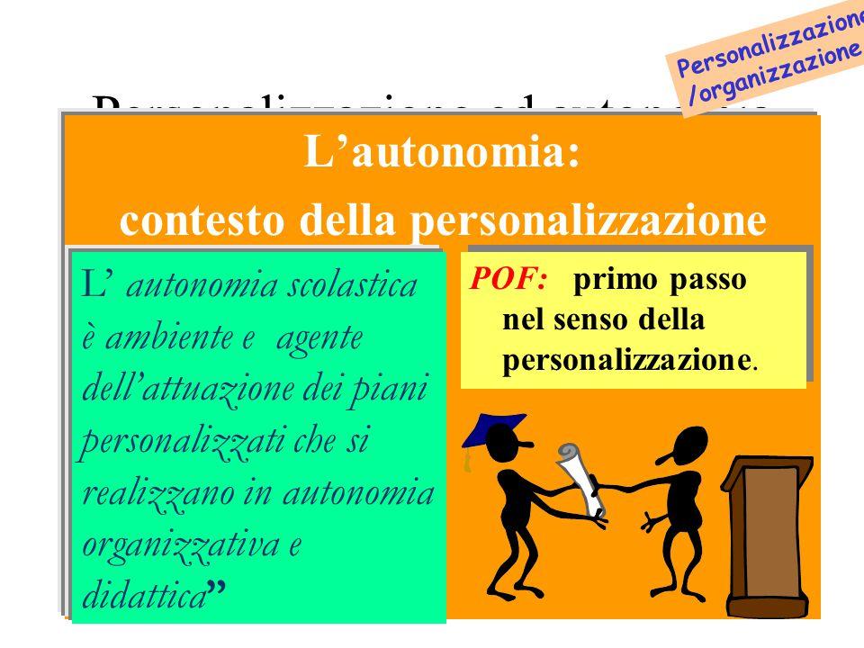 Personalizzazione ed autonomia L'autonomia: contesto della personalizzazione.
