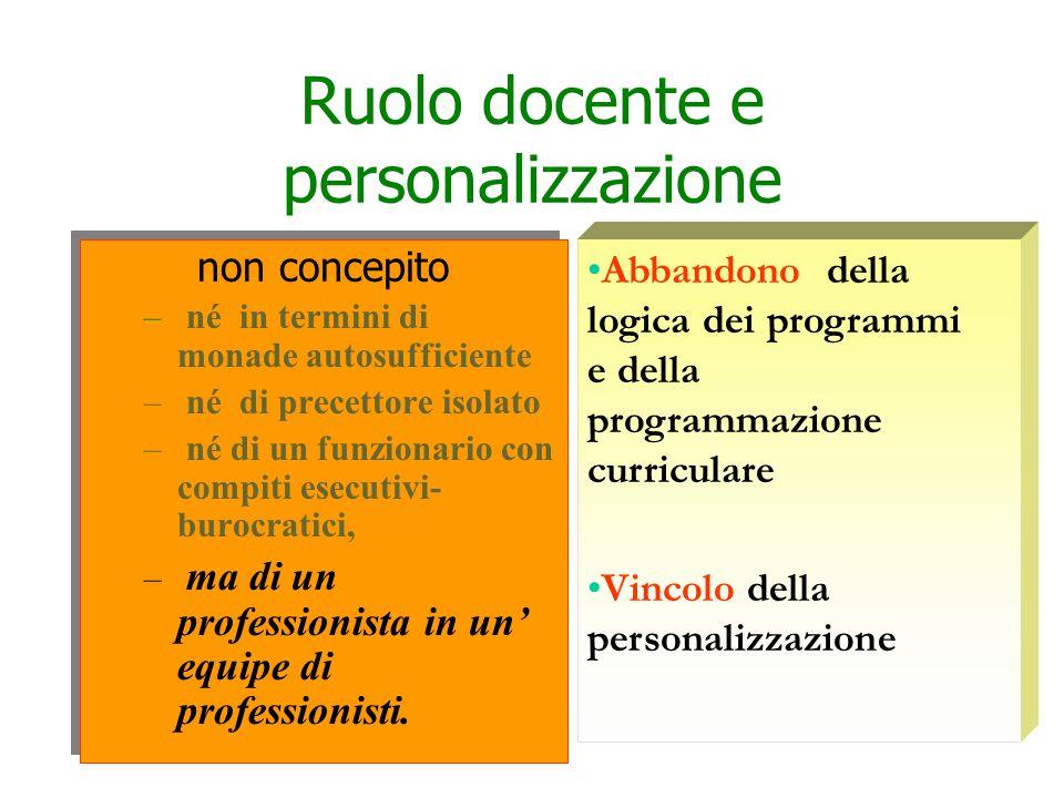 Ruolo docente e personalizzazione non concepito – né in termini di monade autosufficiente – né di precettore isolato – né di un funzionario con compiti esecutivi- burocratici, – ma di un professionista in un' equipe di professionisti.