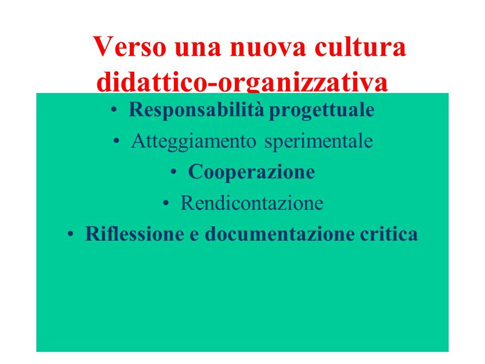 Verso una nuova cultura didattico-organizzativa Responsabilità progettuale Atteggiamento sperimentale Cooperazione Rendicontazione Riflessione e documentazione critica