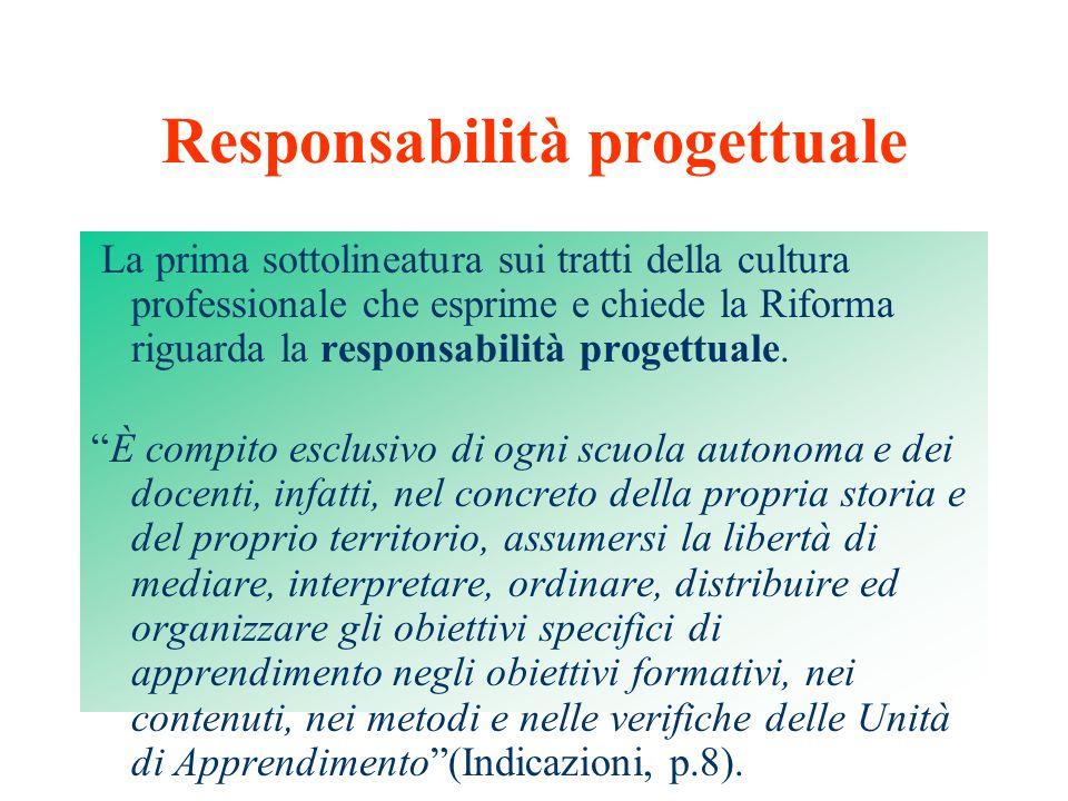 Responsabilità progettuale La prima sottolineatura sui tratti della cultura professionale che esprime e chiede la Riforma riguarda la responsabilità progettuale.