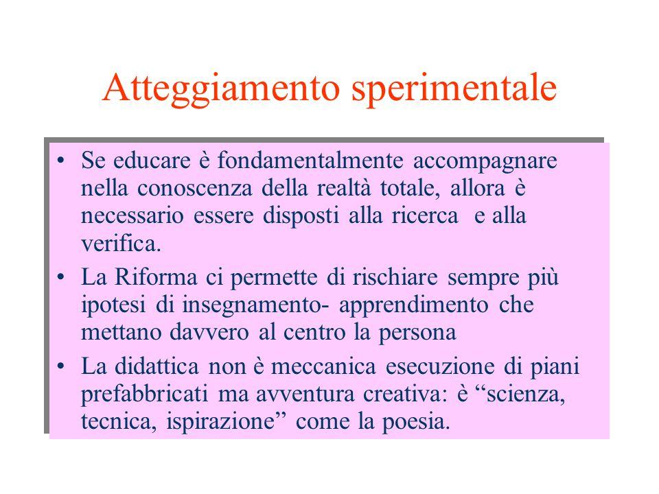 Atteggiamento sperimentale Se educare è fondamentalmente accompagnare nella conoscenza della realtà totale, allora è necessario essere disposti alla ricerca e alla verifica.