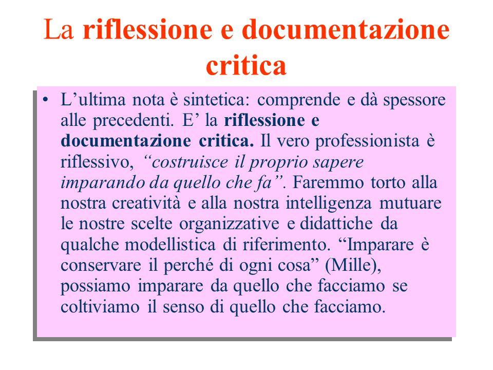 La riflessione e documentazione critica L'ultima nota è sintetica: comprende e dà spessore alle precedenti.