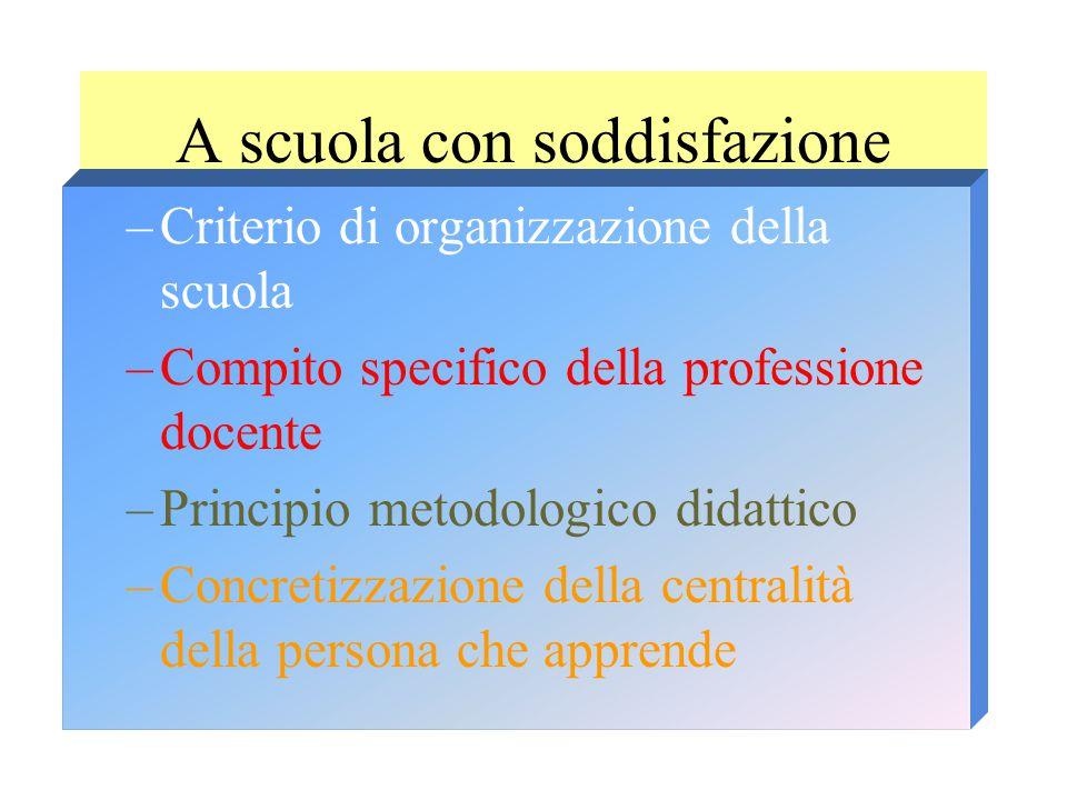 A scuola con soddisfazione –Criterio di organizzazione della scuola –Compito specifico della professione docente –Principio metodologico didattico –Concretizzazione della centralità della persona che apprende