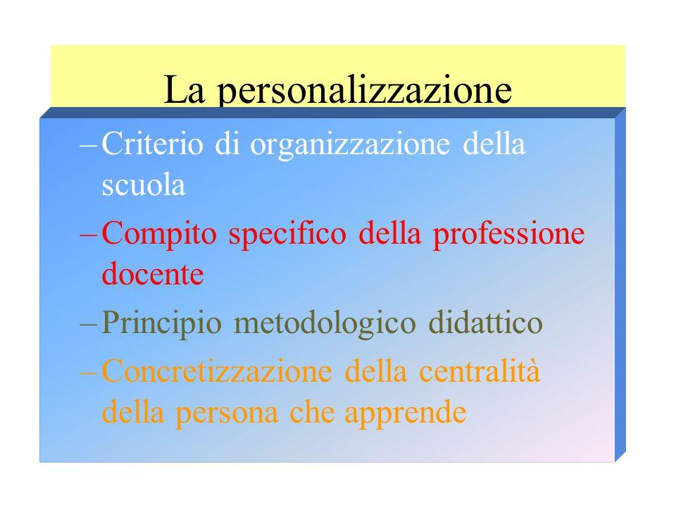 La personalizzazione –Criterio di organizzazione della scuola –Compito specifico della professione docente –Principio metodologico didattico –Concretizzazione della centralità della persona che apprende