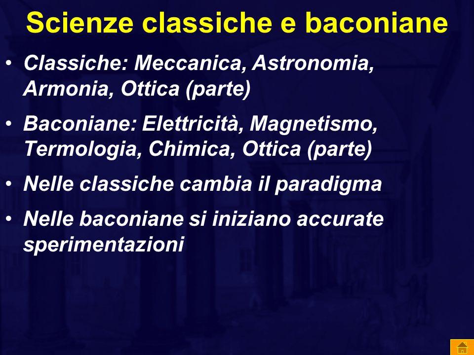 Scienze classiche e baconiane Classiche: Meccanica, Astronomia, Armonia, Ottica (parte) Baconiane: Elettricità, Magnetismo, Termologia, Chimica, Ottica (parte) Nelle classiche cambia il paradigma Nelle baconiane si iniziano accurate sperimentazioni