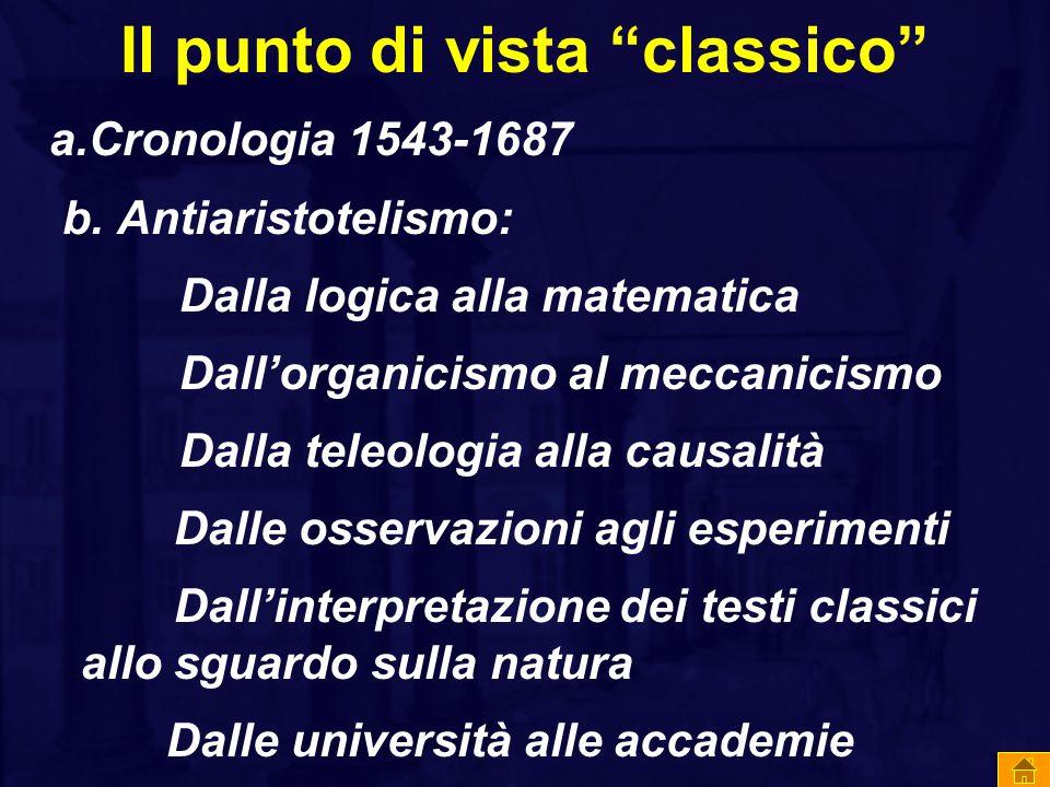 """Il punto di vista """"classico"""" a.Cronologia 1543-1687 b. Antiaristotelismo: Dalla logica alla matematica Dall'organicismo al meccanicismo Dalla teleolog"""