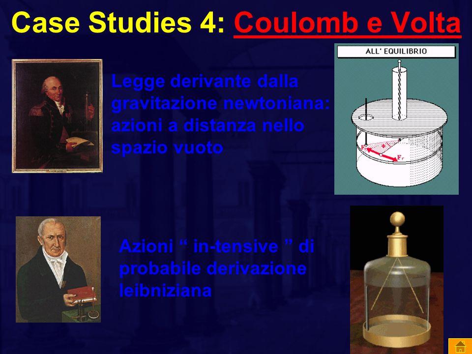 Case Studies 4: Coulomb e VoltaCoulomb e Volta Legge derivante dalla gravitazione newtoniana: azioni a distanza nello spazio vuoto Azioni in-tensive di probabile derivazione leibniziana