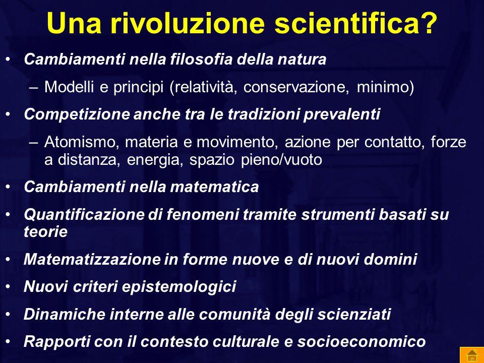 Una rivoluzione scientifica? Cambiamenti nella filosofia della natura –Modelli e principi (relatività, conservazione, minimo) Competizione anche tra l