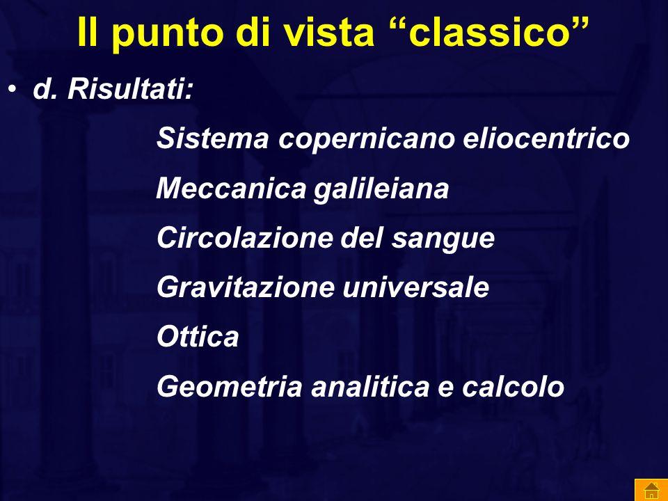 """Il punto di vista """"classico"""" d. Risultati: Sistema copernicano eliocentrico Meccanica galileiana Circolazione del sangue Gravitazione universale Ottic"""