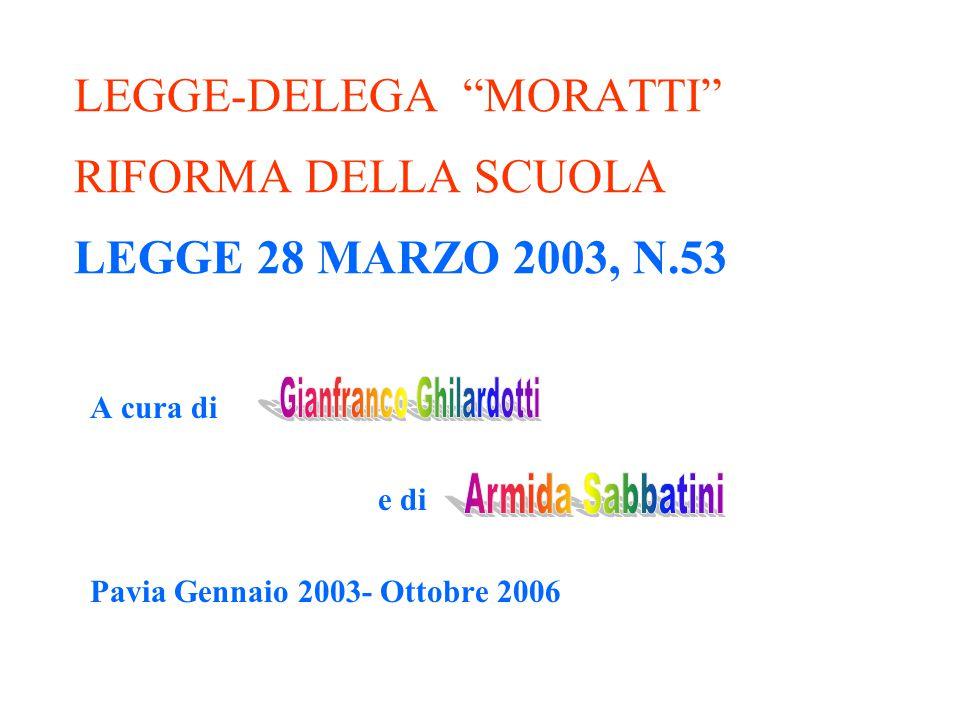 """LEGGE-DELEGA """"MORATTI"""" RIFORMA DELLA SCUOLA LEGGE 28 MARZO 2003, N.53 A cura di e di Pavia Gennaio 2003- Ottobre 2006"""