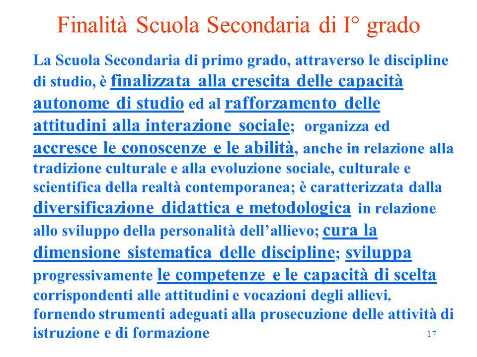 17 Finalità Scuola Secondaria di I° grado La Scuola Secondaria di primo grado, attraverso le discipline di studio, è finalizzata alla crescita delle c