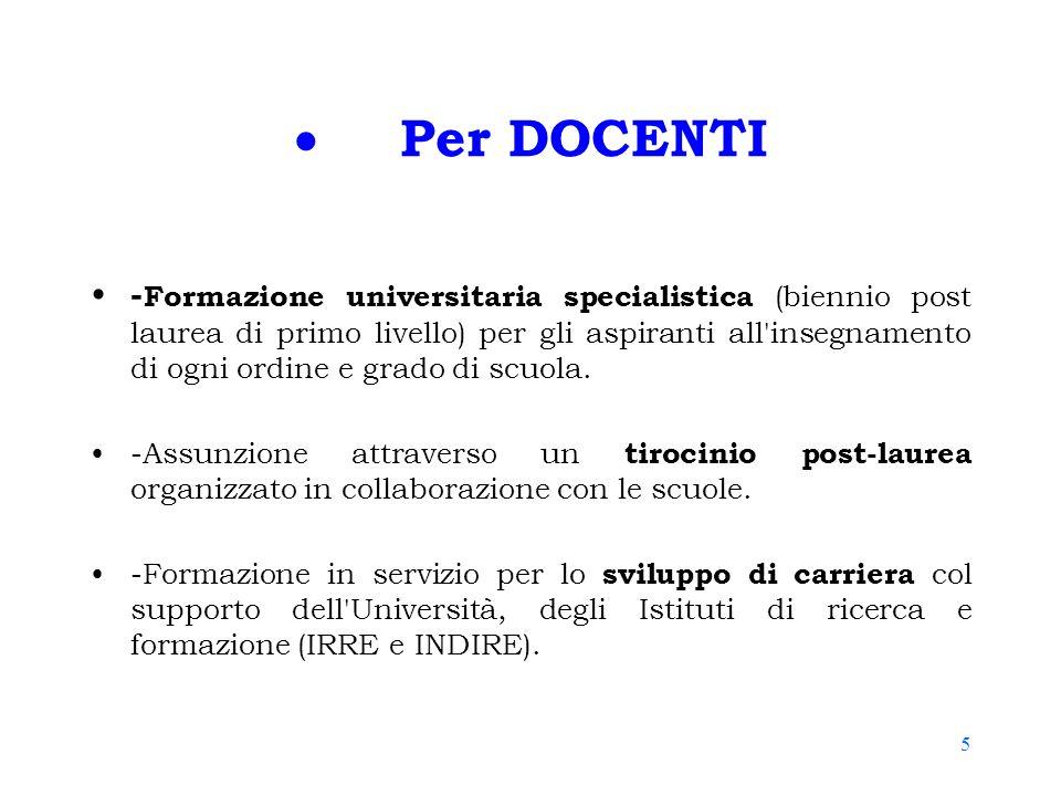 5  Per DOCENTI - Formazione universitaria specialistica (biennio post laurea di primo livello) per gli aspiranti all'insegnamento di ogni ordine e gr