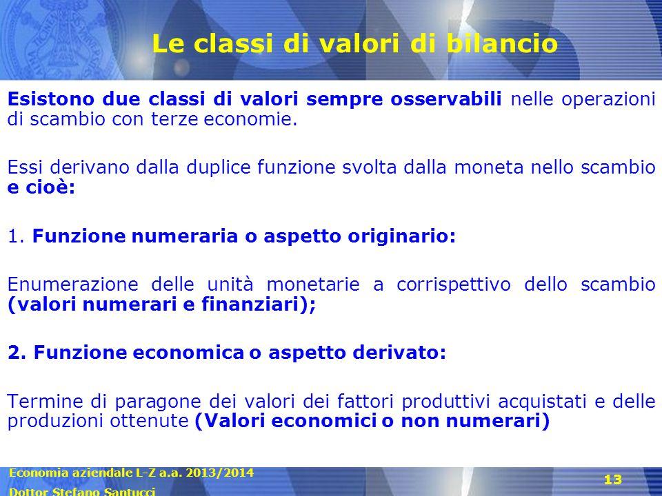 Economia aziendale L-Z a.a. 2013/2014 Dottor Stefano Santucci 13 Le classi di valori di bilancio Esistono due classi di valori sempre osservabili nell
