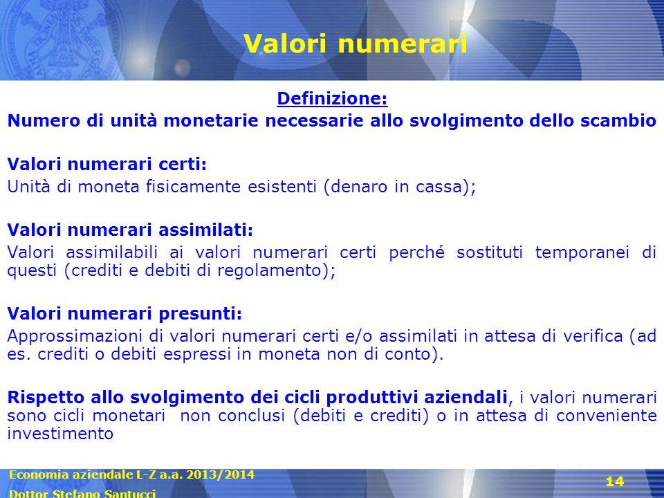Economia aziendale L-Z a.a. 2013/2014 Dottor Stefano Santucci 14 Valori numerari Definizione: Numero di unità monetarie necessarie allo svolgimento de