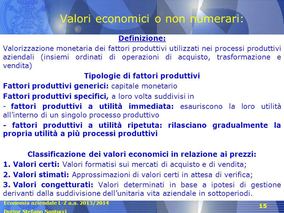 Economia aziendale L-Z a.a. 2013/2014 Dottor Stefano Santucci 15 Valori economici o non numerari: Definizione: Valorizzazione monetaria dei fattori pr