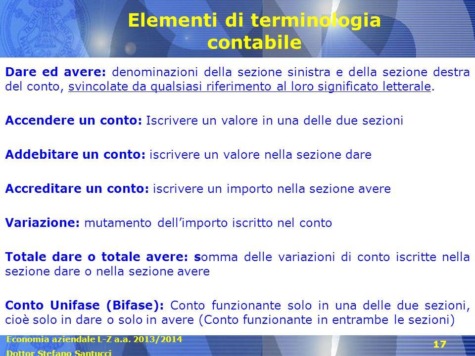 Economia aziendale L-Z a.a. 2013/2014 Dottor Stefano Santucci 17 Elementi di terminologia contabile Dare ed avere: denominazioni della sezione sinistr