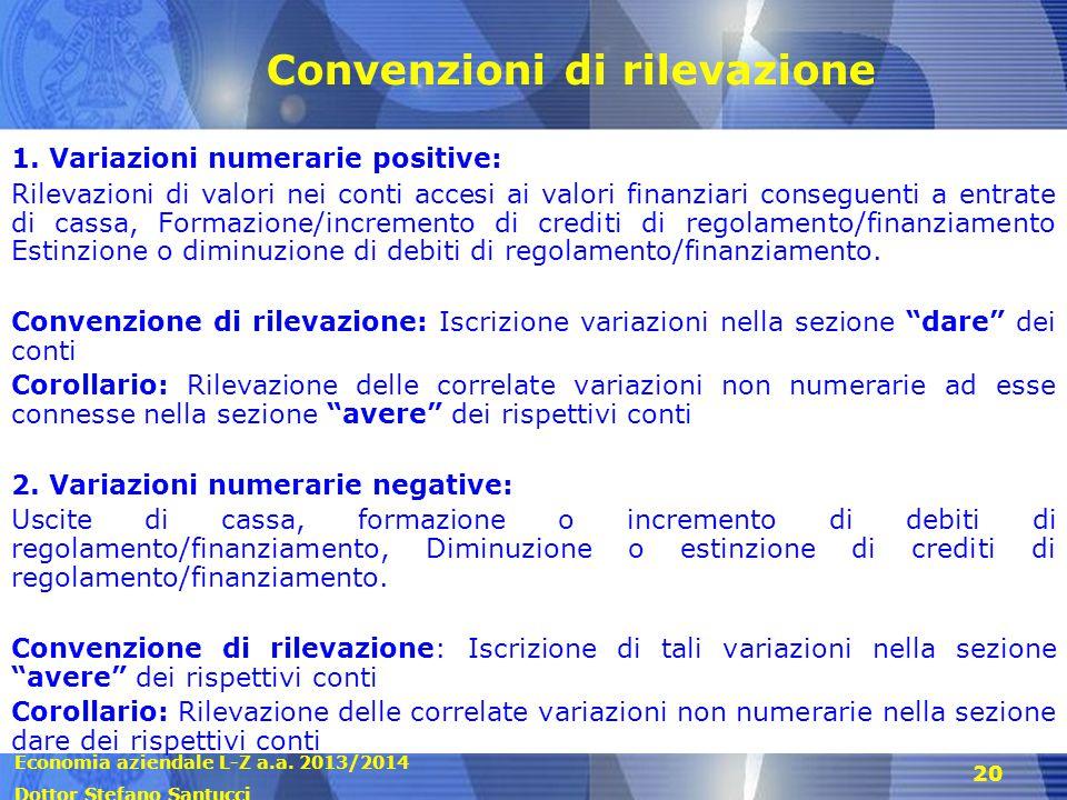Economia aziendale L-Z a.a. 2013/2014 Dottor Stefano Santucci 20 Convenzioni di rilevazione 1. Variazioni numerarie positive: Rilevazioni di valori ne