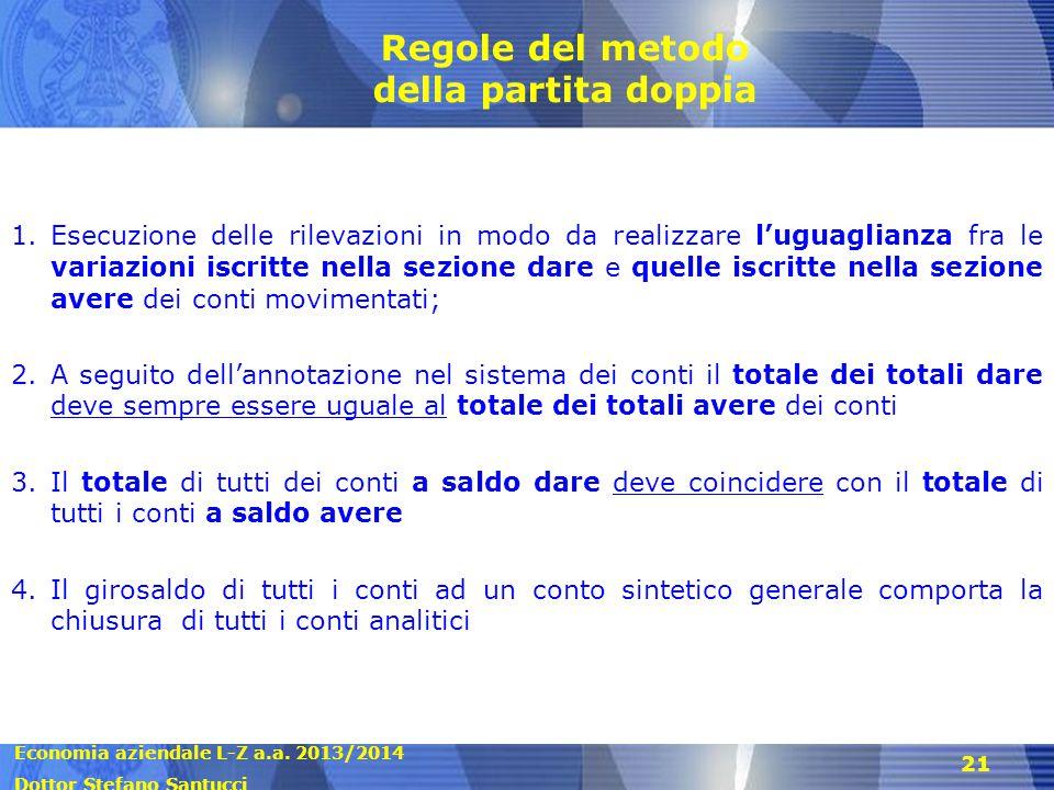 Economia aziendale L-Z a.a. 2013/2014 Dottor Stefano Santucci 21 Regole del metodo della partita doppia 1.Esecuzione delle rilevazioni in modo da real