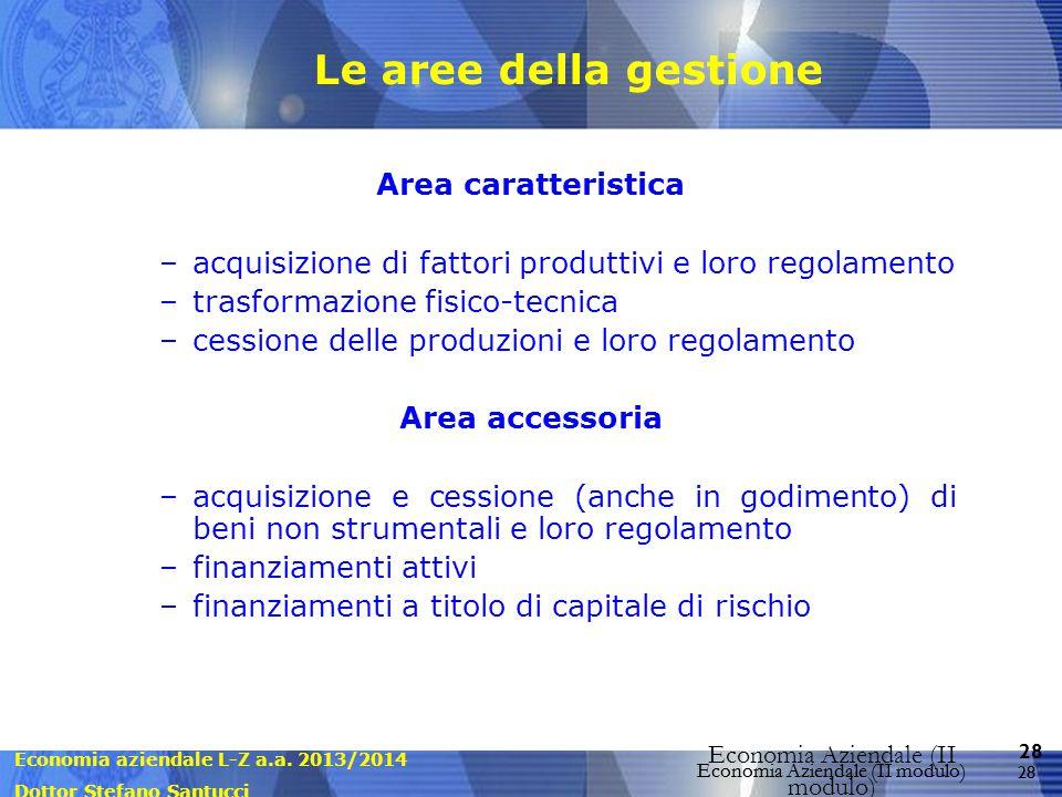 Economia aziendale L-Z a.a. 2013/2014 Dottor Stefano Santucci Economia Aziendale (II modulo) 28 Economia Aziendale (II modulo) Le aree della gestione