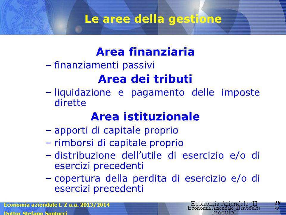 Economia aziendale L-Z a.a. 2013/2014 Dottor Stefano Santucci Economia Aziendale (II modulo) 29 Economia Aziendale (II modulo) Le aree della gestione