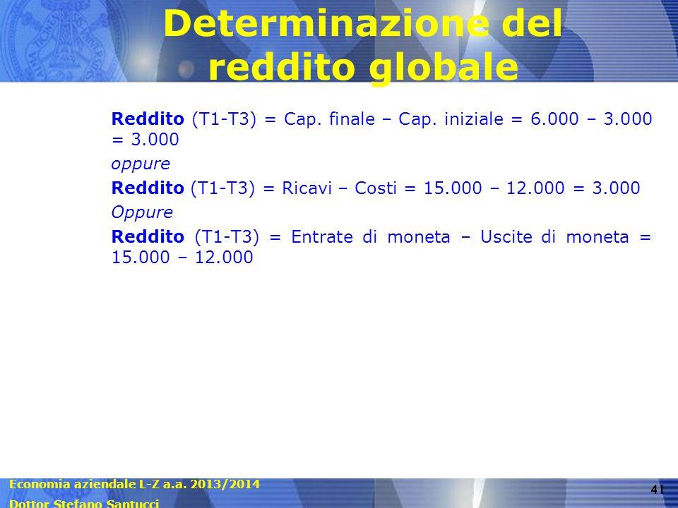 Economia aziendale L-Z a.a. 2013/2014 Dottor Stefano Santucci 41 Determinazione del reddito globale Reddito (T1-T3) = Cap. finale – Cap. iniziale = 6.