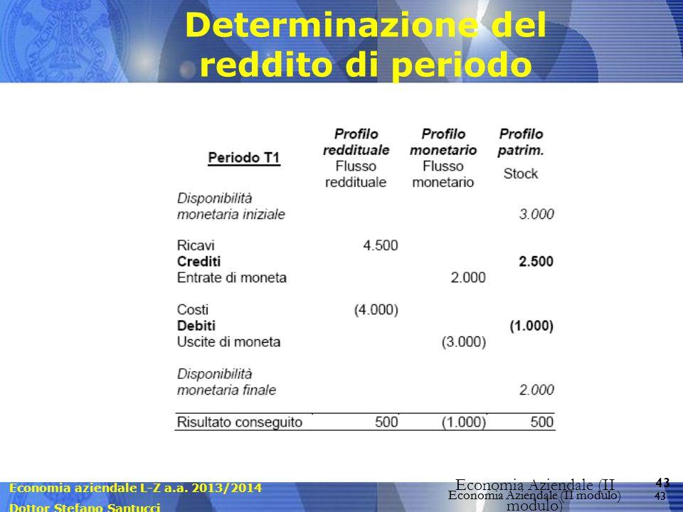 Economia aziendale L-Z a.a. 2013/2014 Dottor Stefano Santucci Economia Aziendale (II modulo) 43 Economia Aziendale (II modulo) Determinazione del redd